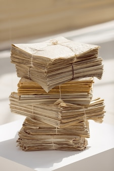 Stack of old newspapers