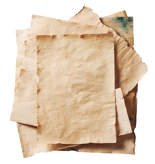 Stack of old papers isolated