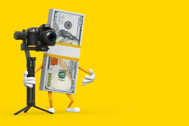 Stack of one hundred dollar bills person character mascot with dslr or video camera gimbal stabilization tripod system on a yellow background. 3d rendering