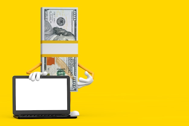 Stack of one hundred dollar bills person character mascot with modern laptop computer notebook and blank screen for your design on a yellow background. 3d rendering