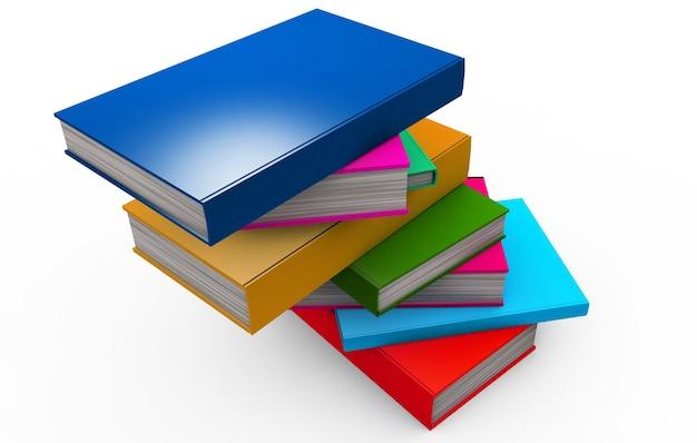 스택 os 다채로운 책 흰색 3d 렌더링에 고립