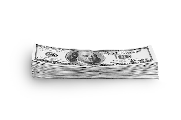 A stack of packaged dollars on a white background