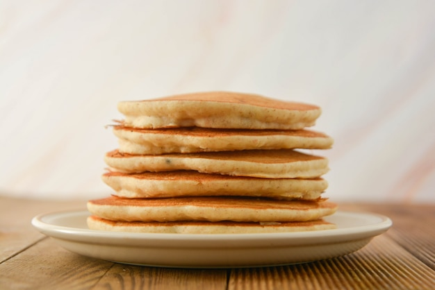 Stack of pancakes. homemade american pancakes, isolated.