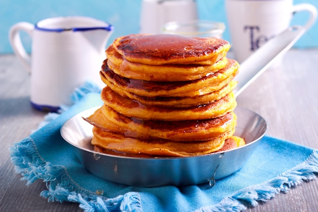Stack of pancakes with syrup in the pan