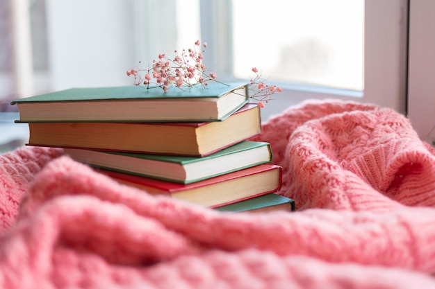 A stack of red and green books with dry flowers on a pink warm knitted sweater