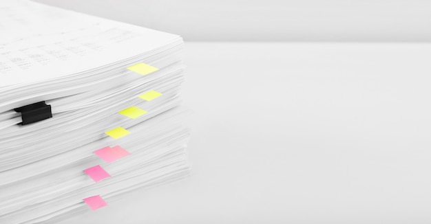 Stack of report financial data. concept of business, finance and data research.
