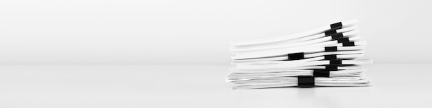 Stack of report paper documents for business desk, business papers for annual reports files.