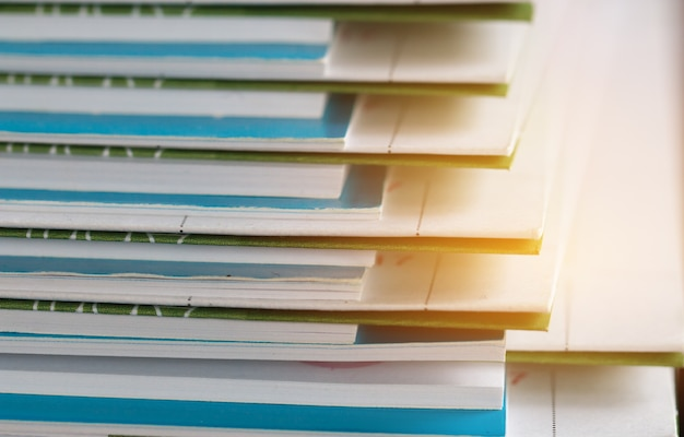 Stack of report paper documents for business