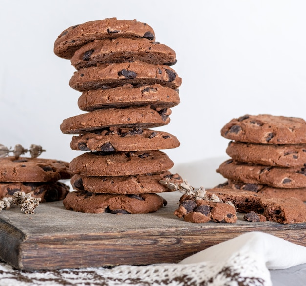 Stack of round chocolate chip cookies