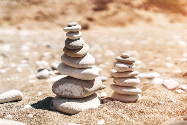 Stack of sea stones on the beach.