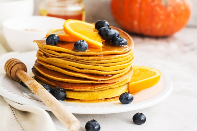 Stack of spiced pumpkin pancakes