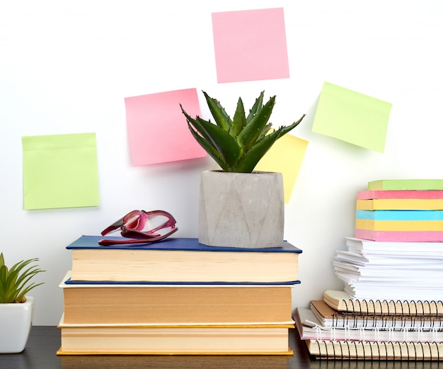 Stack of spiral notebooks and colored stickers, next to a ceramic pot with a flower