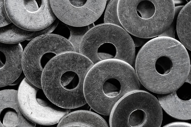 Stack of stainless steel washers, equipment for construction