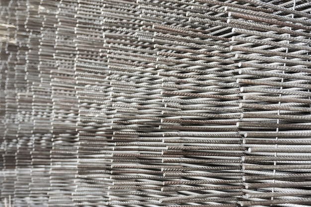 Stack of steel bar texture in construction site