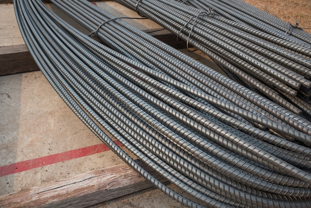 Stack of steel rods at the builing site