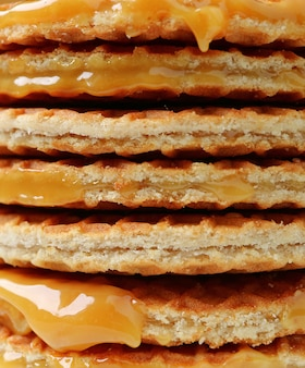 Stack of stroopwafel or caramel filled traditional dutch waffle
