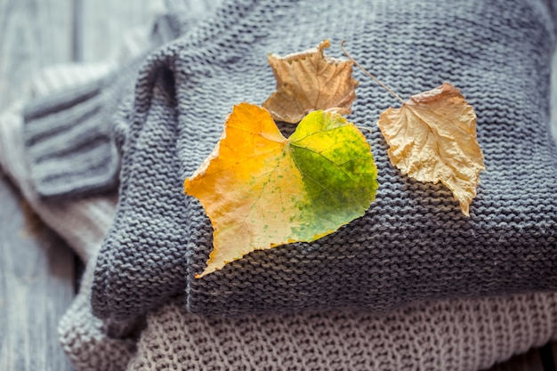 Stack of sweaters and autumn leaves
