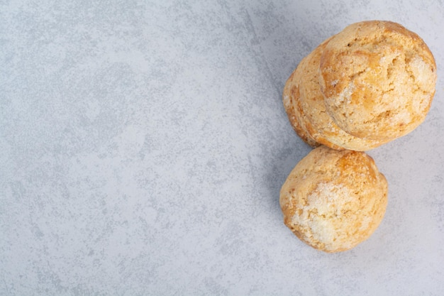 Stack of sweet cookies on gray background. high quality photo
