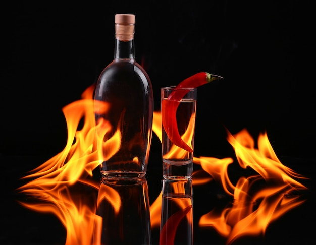 Stack of tequila on fire