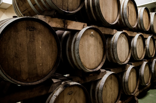 Stack of wood barrel