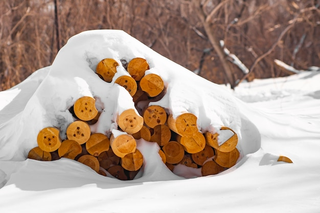 Stack of wooden logs lie on the ground under the snow in winter, harvesting for an ecological house
