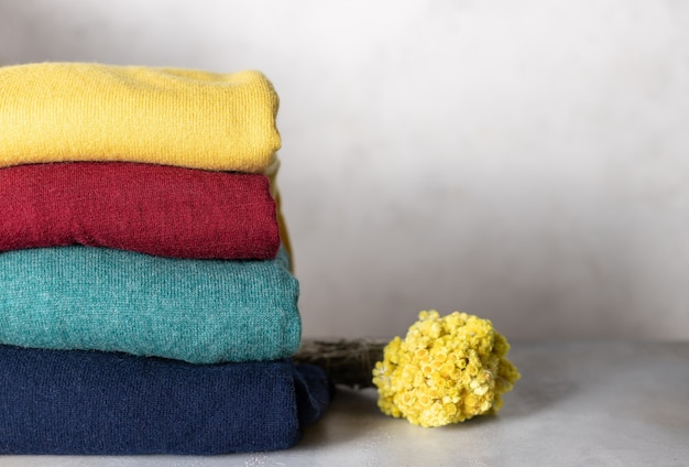 Stack of woolen sweaters