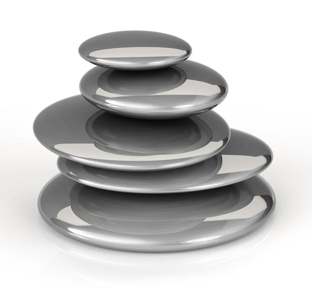 흰색 바탕에 쌓인 검은색 마사지 돌. 3d 렌더링