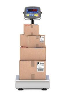 Сложенные посылки картонных коробок над цифровыми весами груза склада на белой предпосылке. 3d рендеринг
