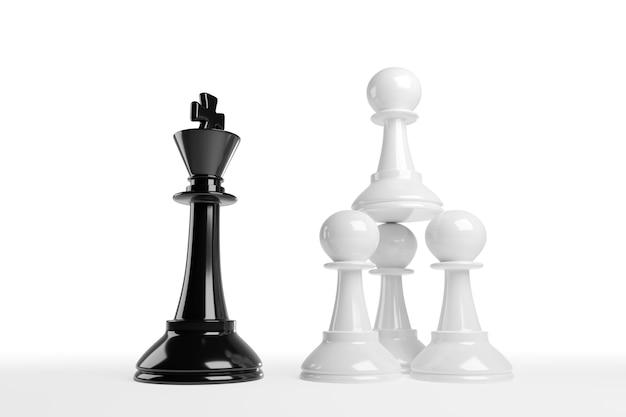 積み重ねられたチェスのポーンは王に直面します。作業チームのコンセプト。