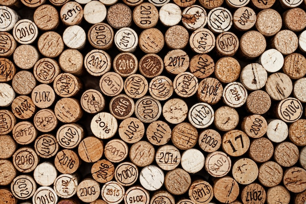 Stacked corks of wine