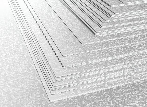 Штабелированные металлические оцинкованные листы. 3d визуализация