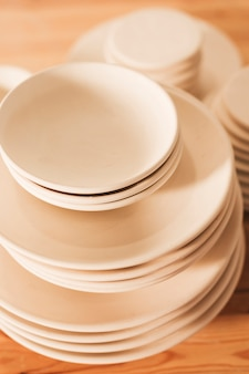 Stacked of handmade ceramic plates