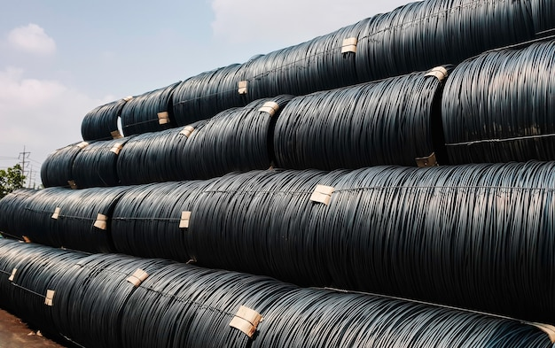 Stacked of high carbon wire rod for heavy industry production