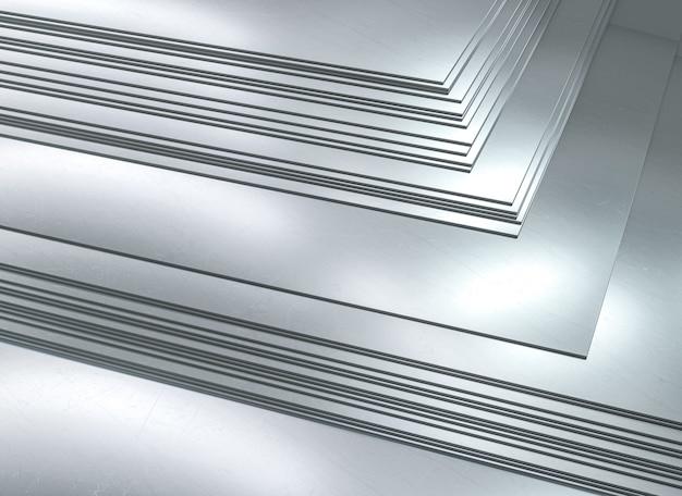 Наборные металлические листы. металлургическая промышленность. 3d визуализация.
