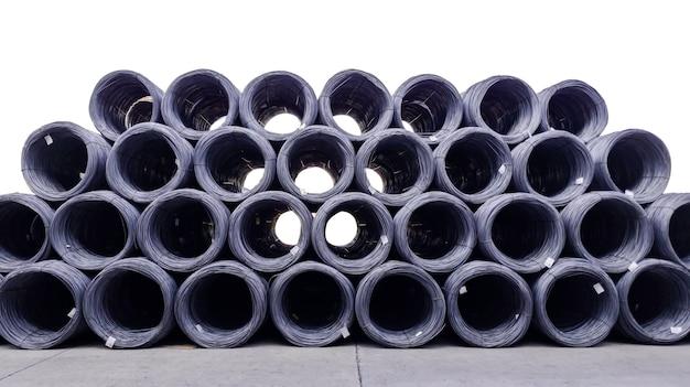 중공업 생산용 고탄소 선재 쌓기, 건설 현장용 금속 강선 롤 더미, 콘크리트 사용 및 건축 공사