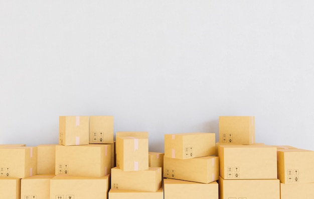 Stacked packages in a room with wall background