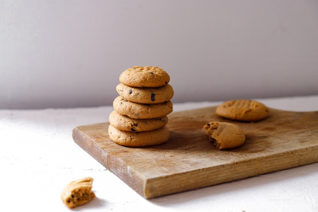Stacked peanut butter cookies with chocolate chunks