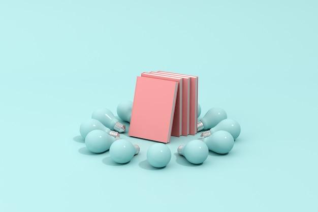 누적 된 분홍색 책과 전구, 최소한의 개념.