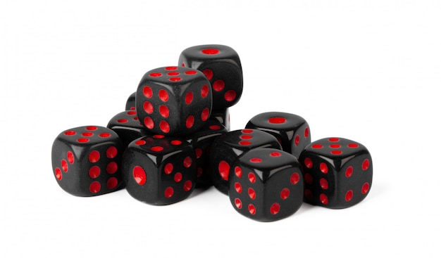 Stacked play dice isolated on white