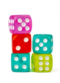 Stacked play dice isolated