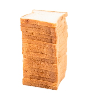 Stacked sliced bread on white background