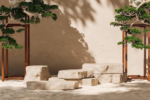 베이지색 벽에 모래와 분재 차양 그림자에 쌓인 석판