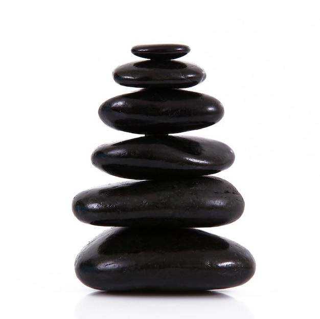 Stacked stones on white
