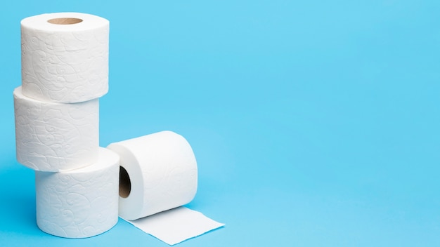 Stacked toilet tissue paper with copy space
