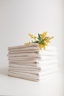 Stacked white towels