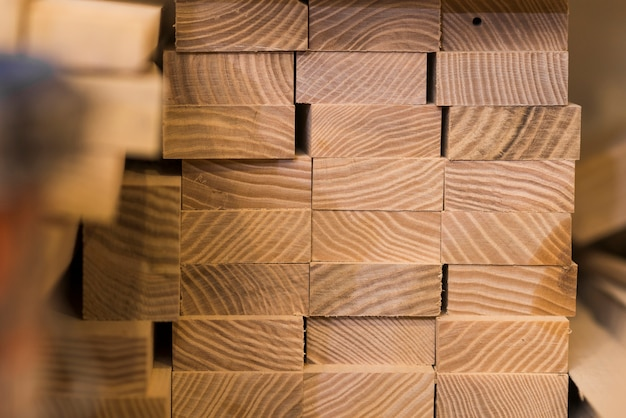 Stacked of wooden timber construction material