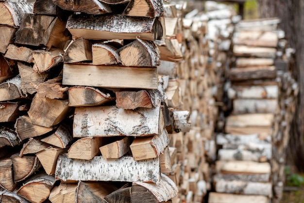 Stacked woodpile of birch firewood in nature in the village close up