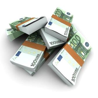 Stacks of 100 euros