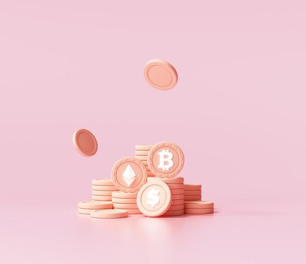 Stacks of bitcoins cryptocurrency on pink background. 3d render illustration