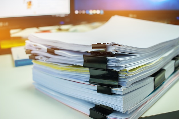 Stacks of documents files for finance of office working